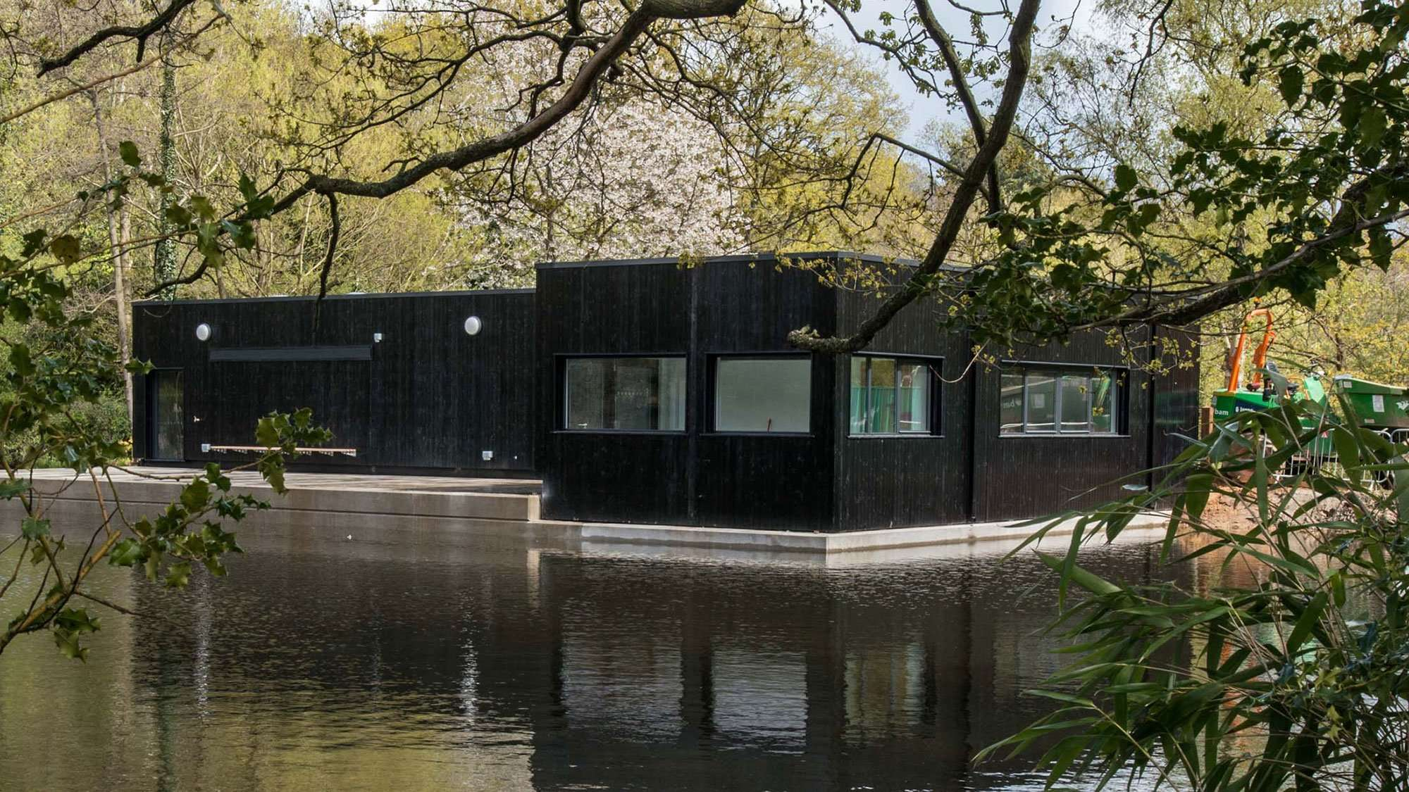 Modular Building by Pond